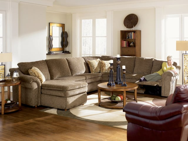 lazy-boy-sectional-recliner-reclining-sectionals-broen-fur-leather-reclining-sofa-with-pillows-and-roung-wooden-lift-table